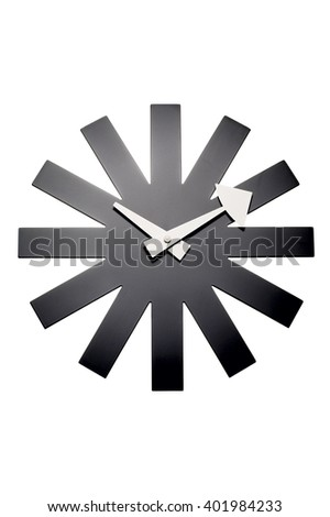 Closeup of modern wall clock over white background - stock photo