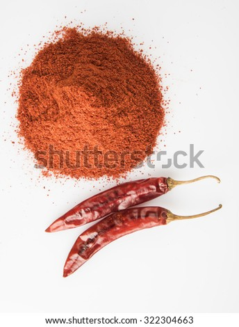 Closeup of mountain of chilly powder with 2 red chillies besides, isolated on white background, vertical and top view,  - stock photo