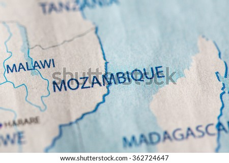 Closeup of Mozambique on a geographical map. - stock photo