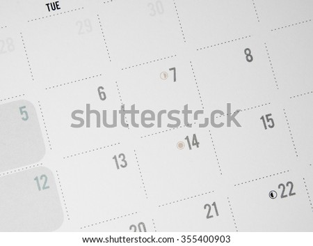Closeup of numbers on calendar page black&white tone - stock photo