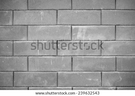 closeup of old black and white brick wall texture, black and white - stock photo