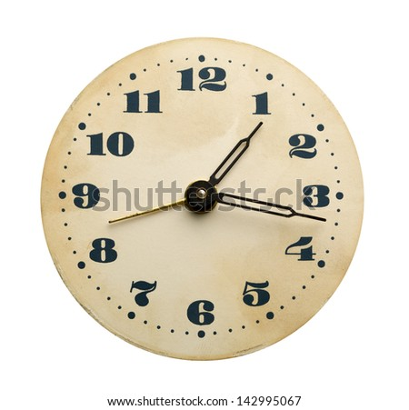 Closeup of old clock face isolated on white - stock photo