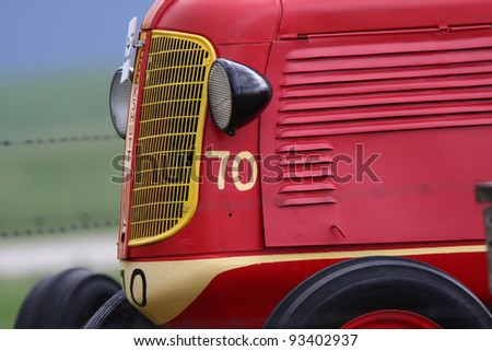 closeup of old tractor - stock photo