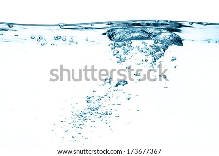 Closeup of oxygen bubbles isolated on white - stock photo