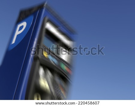 Closeup of parking meter with added zoom effect - stock photo