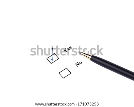 Closeup of pen and yes-option on white background - stock photo