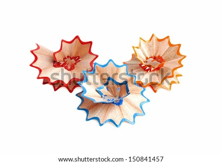 Closeup of pencil shaving isolated on white background - stock photo
