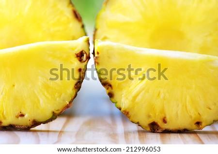 Closeup of pineapple slices  - stock photo