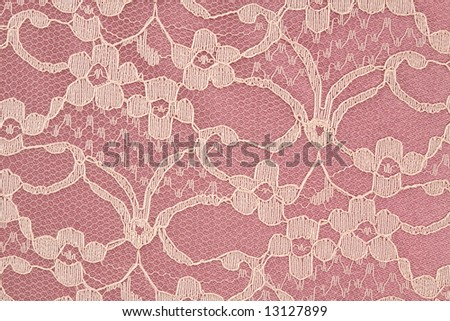 Closeup of Pink and Cream Colored Lace - stock photo