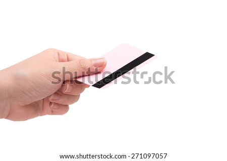 closeup of pink credit card holded by hand. Isolated over white.  - stock photo