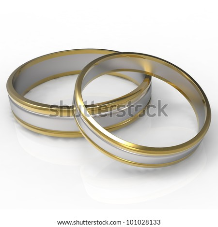 Closeup of Platinum and Gold wedding bands with clipping path on a white background. - stock photo