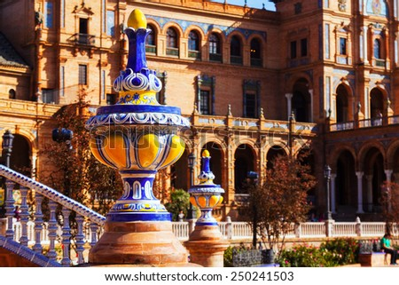 Closeup of Plaza de Espana at Seville.  Spain - stock photo