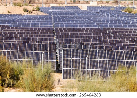Closeup of power  solar panel system at desert  - stock photo