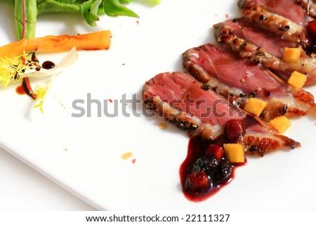 closeup of professionally prepared food - stock photo
