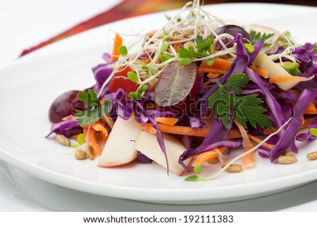 Closeup of red cabbage, carrot, and apple salad with sprouts, red grape, and roasted sunflower seeds served for healthy lunch  - stock photo