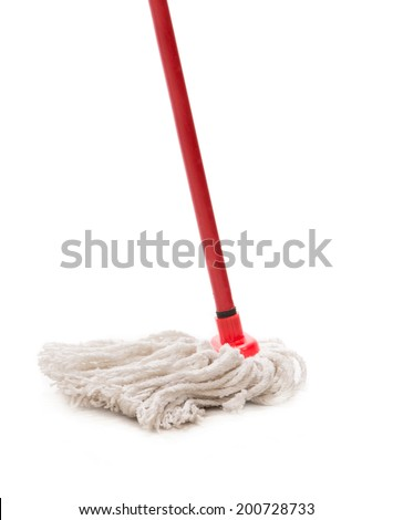 Closeup of red mop for cleaning. Isolated on a white background. - stock photo