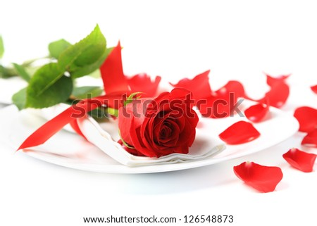 Closeup of red rose on white plate - stock photo