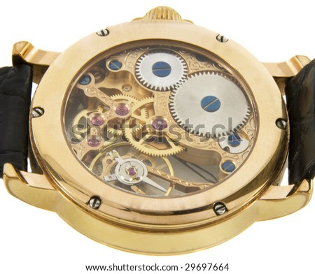 Closeup of rich gold swiss made chronograph watch in white background. Back size - stock photo