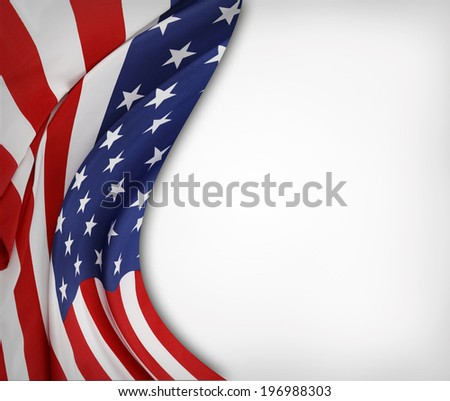 Closeup of rippled American flag on plain background - stock photo