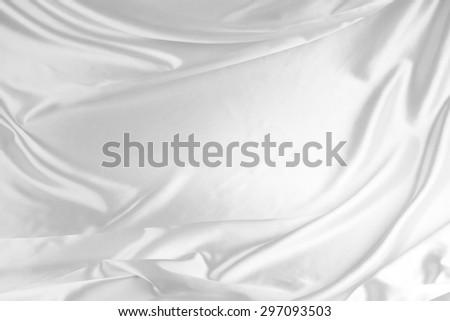 Closeup of rippled satin silk fabric - stock photo