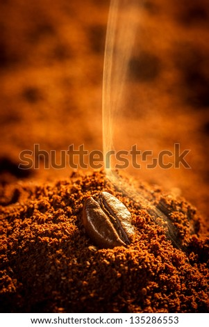 Closeup of roasted coffee aroma emitting - stock photo