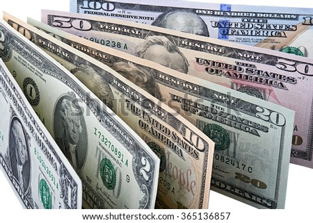 Closeup of row of dollar banknotes. Image is isolated on white and the file includes a clipping path.
