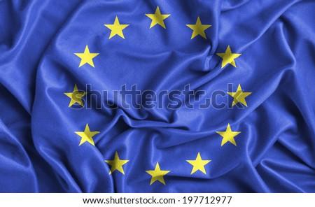 Closeup of ruffled Europe flag  - stock photo