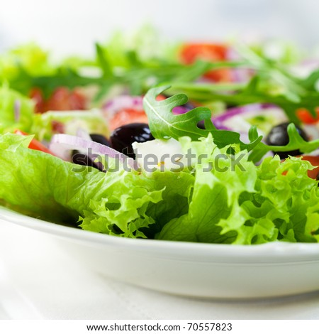 Closeup of salad with feta cheese and olives - stock photo