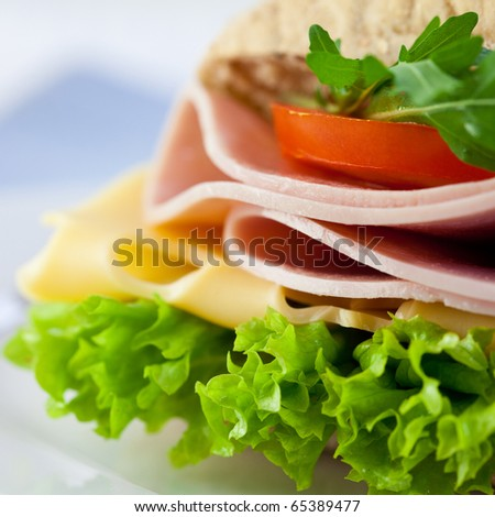 Closeup of sandwich with ham,cheese and fresh vegetables - stock photo