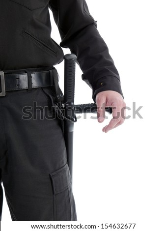 Closeup of security man's hand reasting on police club attached to his side, shot on white - stock photo