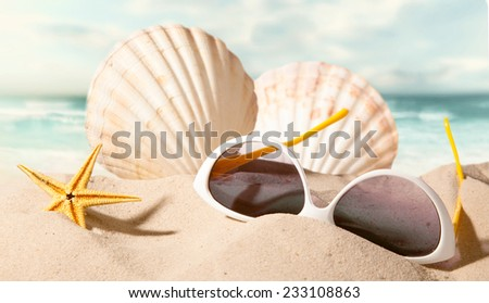 closeup of shell starfish and sunglasses on sunny beach with blurry sea in the background - stock photo