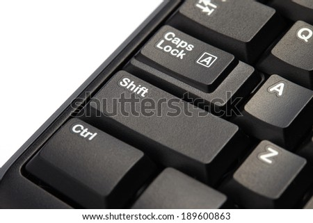 Closeup of shift key of computer keyboard - stock photo