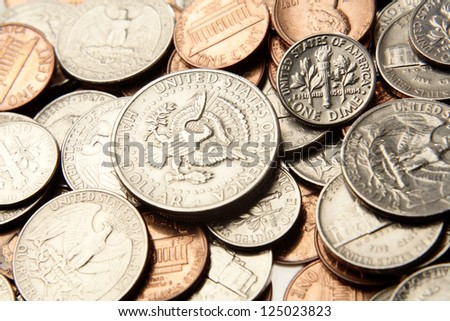 Closeup of shiny American coins - stock photo