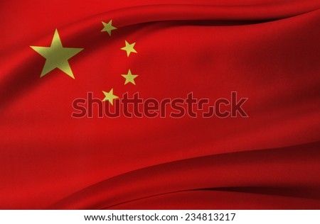 Closeup of silky Chinese flag - stock photo