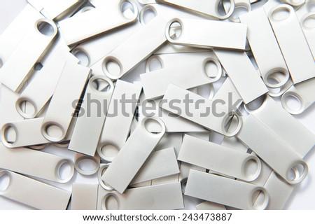 closeup of silver memory sticks on white - stock photo