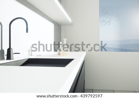 Closeup of sink in kitchen interior with landscape view. Side view, 3D Rendering - stock photo