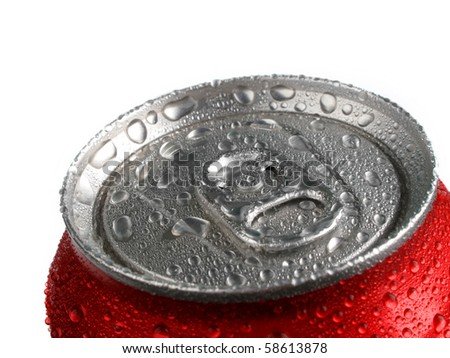 Closeup of soda or pop can with drops of water for fresshness - stock photo