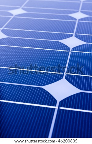 Closeup of Solar Panels,useful for alternative energy themes.I use the blue style to present the hight tech feeling. - stock photo