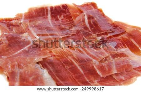 Closeup of spanish jabugo ham slices - stock photo