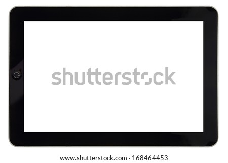 Closeup of tablet with blank screen for template isolated - stock photo