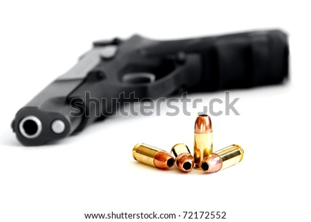 Closeup of tactical military bullets and  gun isolated on white - stock photo
