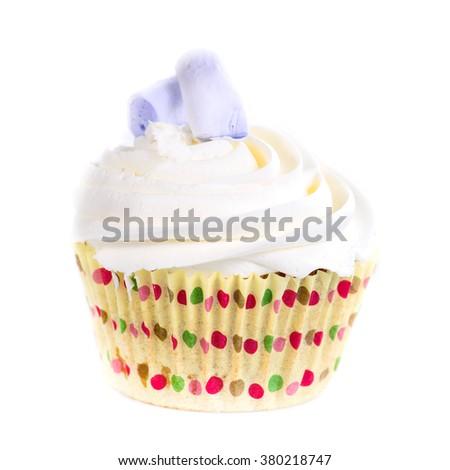 closeup of tasty cupcake (shallow DOF), isolated on white background - stock photo