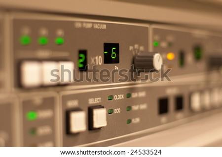 Closeup of the control panel, selective focus - stock photo