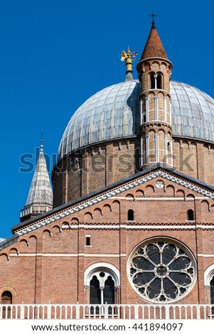 Closeup of the dome and belfry towers of the Basilica of Saint Anthony of Padua built in 1310 in Padua, Italy - stock photo