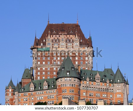 closeup of the famous chateau frontenac castle in old quebec city - stock photo