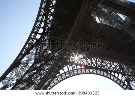 Closeup of the framework of the Eiffel Tower in Paris, France. - stock photo