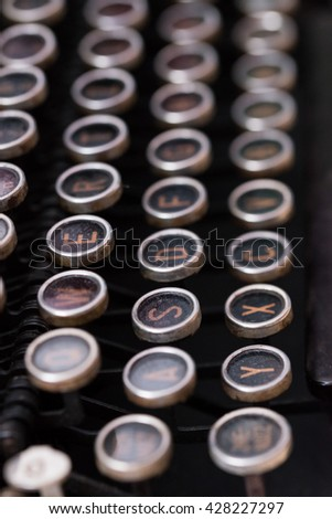 Closeup of the keys of an old typewriter - stock photo