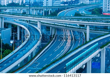 closeup of the overpass at shanghai in early morning - stock photo
