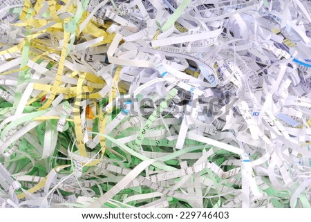 closeup of the shredded document paper  - stock photo