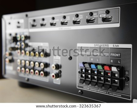 Closeup of the speaker terminals on the back of an AV receiver - stock photo